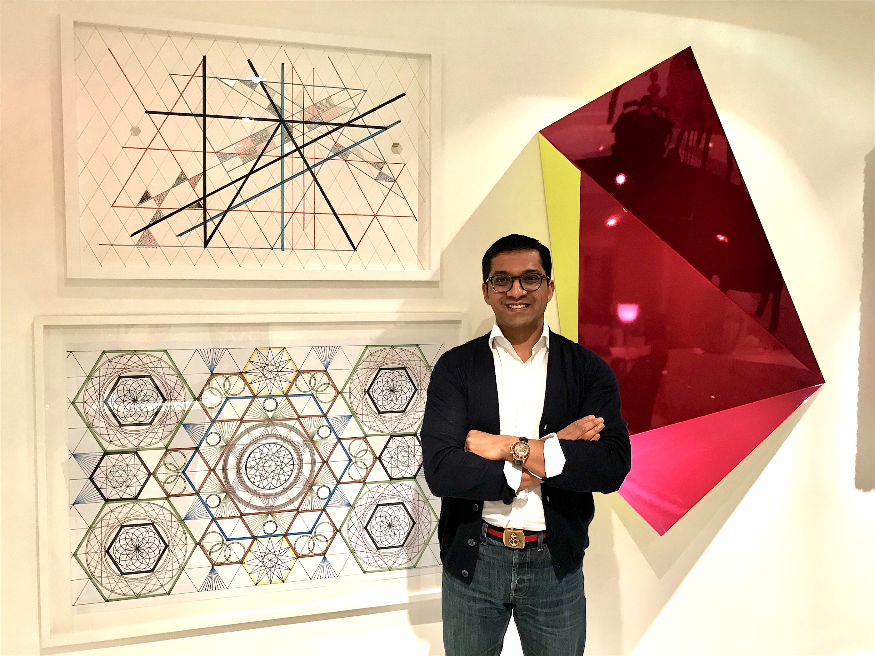 Artworks by Monir Farmanfarmaian (left) and Rana Begum (right). Courtesy of Shohidul Ahad-Choudhury.