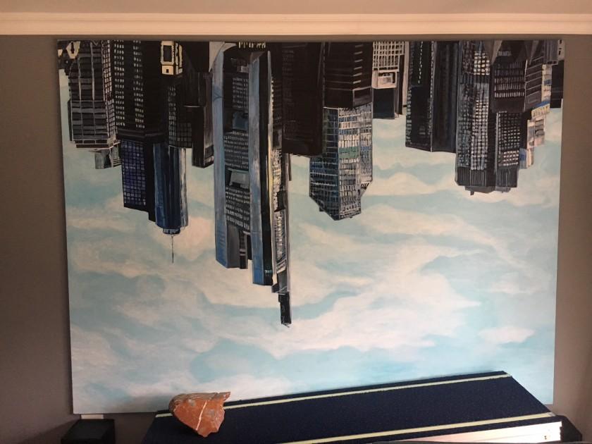 Jana Euler - Frankfurt upside down, and a piece by Yngve Holen. Courtesy of Louis Kotze.