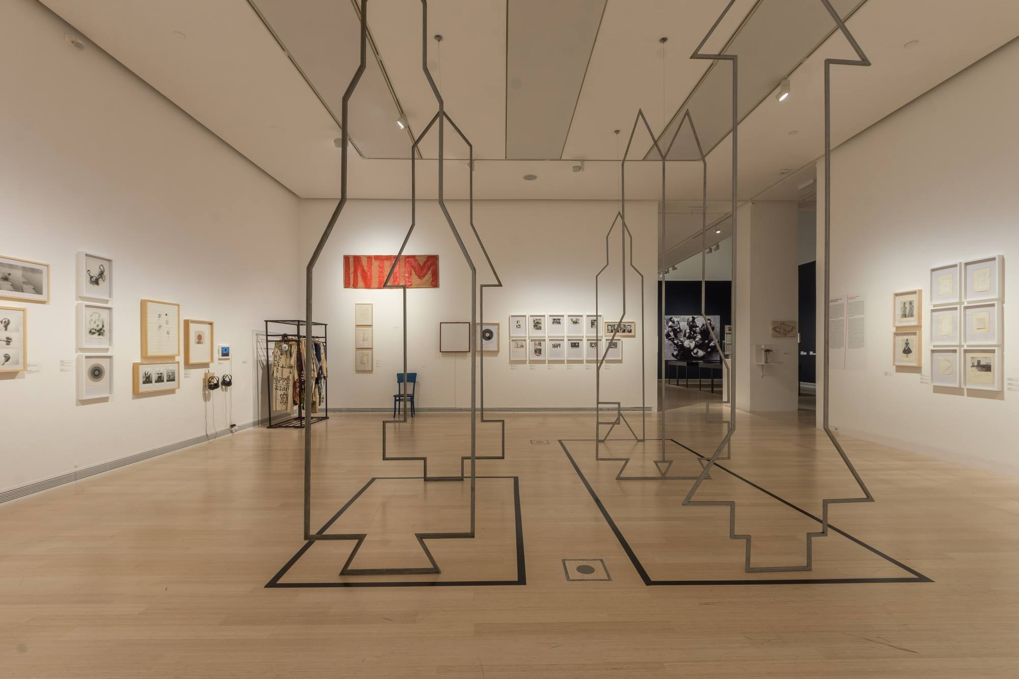 Installation view of the 'Non-Aligned Art. Marinko Sudac Collection' exhibition in Ludwig Museum Budapest, 2017, with works of Stano Filko in the foreground. Courtesy of Marinko Sudac.