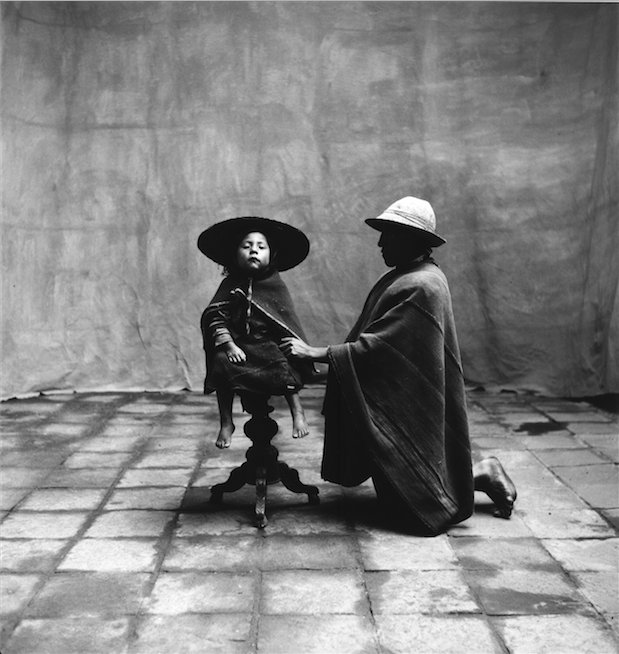 """""""Father Kneeling With Seated Child"""", Irving Penn, 1948, 56 x 65 cm. Courtesy of Jan Mulder."""