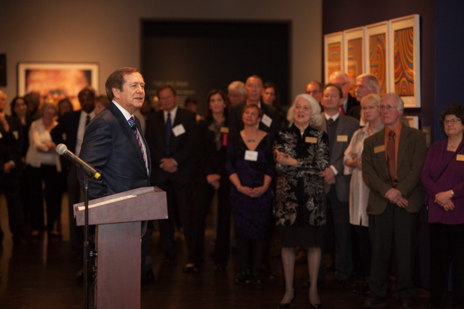 "Jordan Schnitzer speaking at ""Under Pressure: Contemporary Prints from the Collections of Jordan D. Schnitzer and His Family Foundation"" exhibition@ the Jordan Schnitzer Museum of Art in Eugene, OR, 2015. Courtesy of Jordan Schnitzer."