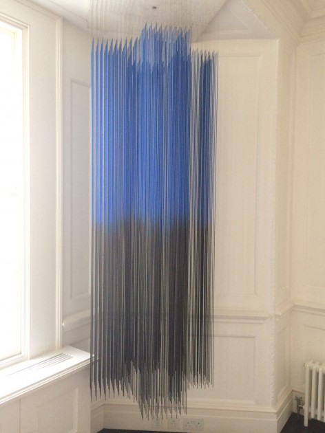 Jesús Soto, 'Blue et Noir, Penetrable Suspendu', 1968, Painted metal iron bars, suspended in a wooden structure. Courtesy of Tiqui Atencio.