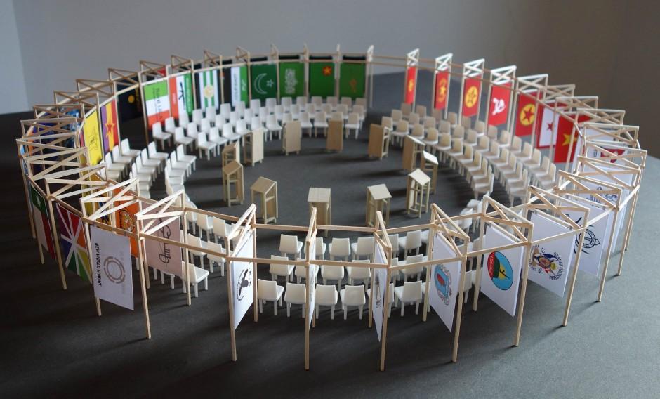 New World Summit – Berlin architectural model  (2012), maquette, plexiglass, wooden structure, 90 X 90 X 117 cm, Jonas Staal. Courtesy of CollezioneTaurisano.