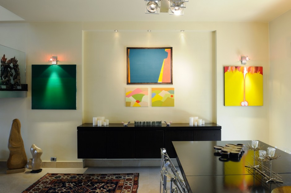 Pieces displayed in apartment: (left to right) by Helen Khal, Etel Adnan, Saliba Douaihy, Sculptures of Alfred Basbous, and painting by Huguette Caland. Courtesy of Abraham Karabajakian.