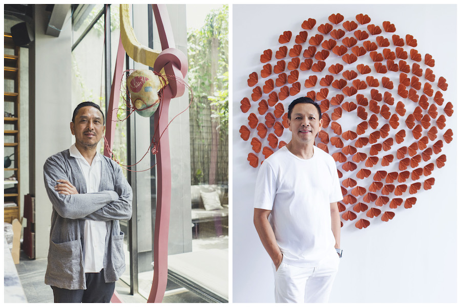 Left to right: Teddy Lazuardi with artwork by Handiwirman Saputra, and Rudi Lazuardi with Albert Yonathan Setiawan's artwork. Courtesy of Teddy and Rudi Lazuardi.