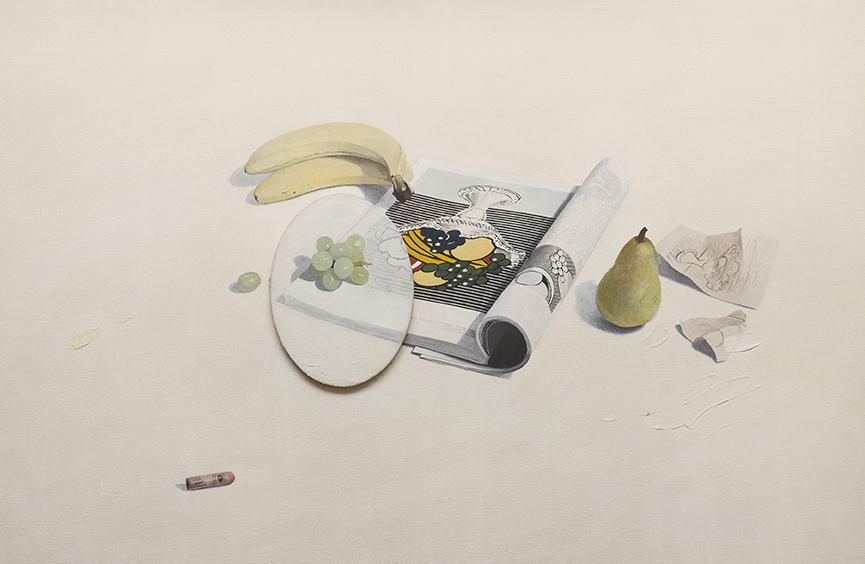 Liliana Porter, Still life with book and fruits, 1983. Courtesy of Bruno Dubner.