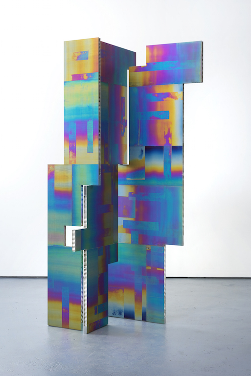 Mark Hagen, A Parliement of Some Things (Additive and Subtractive Sculpture, Titanium Screen, Panels 3, 4, 5), 2014, Anodized titanium on aluminium honeycomb panel, 3 parts: 84 x 36 inch (3), 84 x 36 inch (4), 84 x 18inch (5). Courtesy of Kelly Ying.