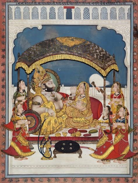 Maharana Bhim Singh of Mewar seated under a Ganga-Jamani canopy - by Choka, dated 1798 CE. Courtesy of Anil Relia.