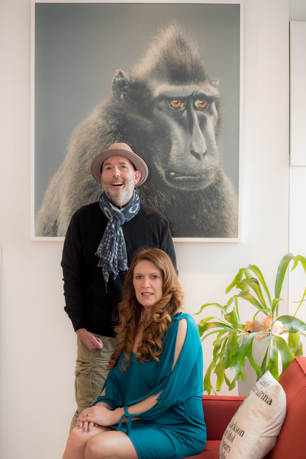 Marc and Sara Schiller in front of  Jill Greenberg's Anxious, 2007. Courtesy of Sara and Marc Schiller.