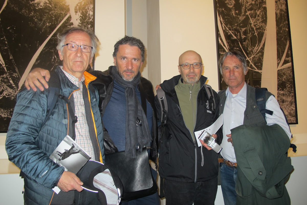 Marinko Sudac with the OHO group during the Venice Biennale 2017 (L-R Milenko Matanović, Marinko Sudac, David Nez, Marko Pogačnik). Works by  the OHO group from the Marinko Sudac Collection were loaned for the central exhibition 'Viva Arte Viva'. Courtesy of Marinko Sudac.