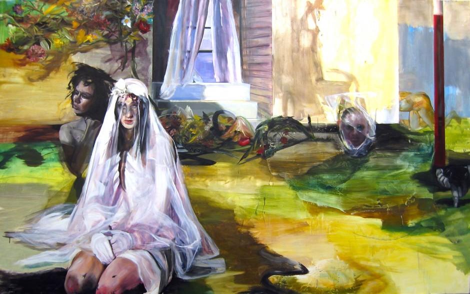 """Natalie Frank, """"Leftover Girls"""", 2006, oil on canvas, 108x54 inch. Courtesy of John Morrissey."""