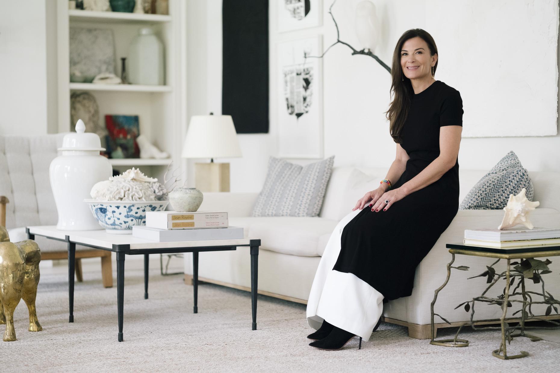 Sarah Harrelson at home, with artworks by David Wiseman, Analia Saban, Kaari Upson, and a tiny Janette Mundt in shelf. Courtesy of Sarah Harrelson.