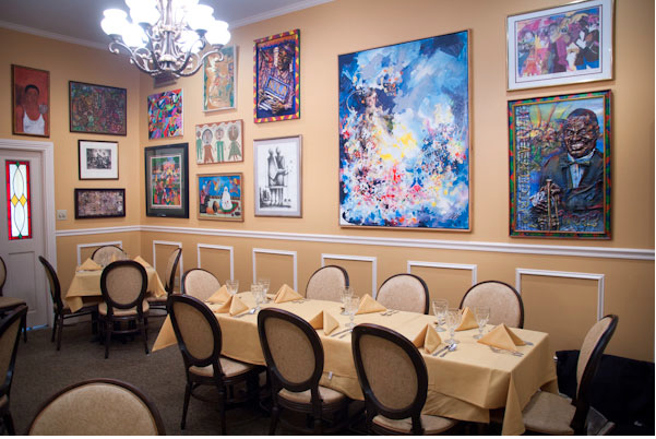 African American art in the Gold Room. Photo: Will Blunt for StarChefs.com