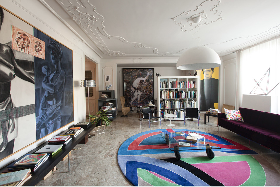 Massimo Bottura's living room, displaying works by Mario Dellavedova, Ross Bleckner and Mario Schifaro. Photo: Dave Yoder for Wall Street Journal.