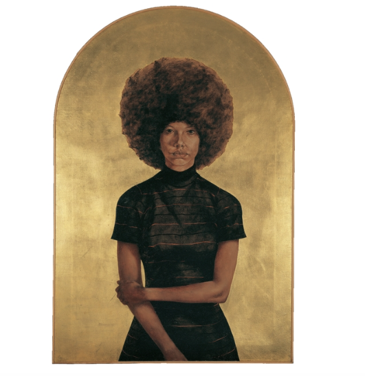Barkley L. Hendricks, Lawdy Mama, 1969, oil and gold leaf on canvas. Image from: Artsy