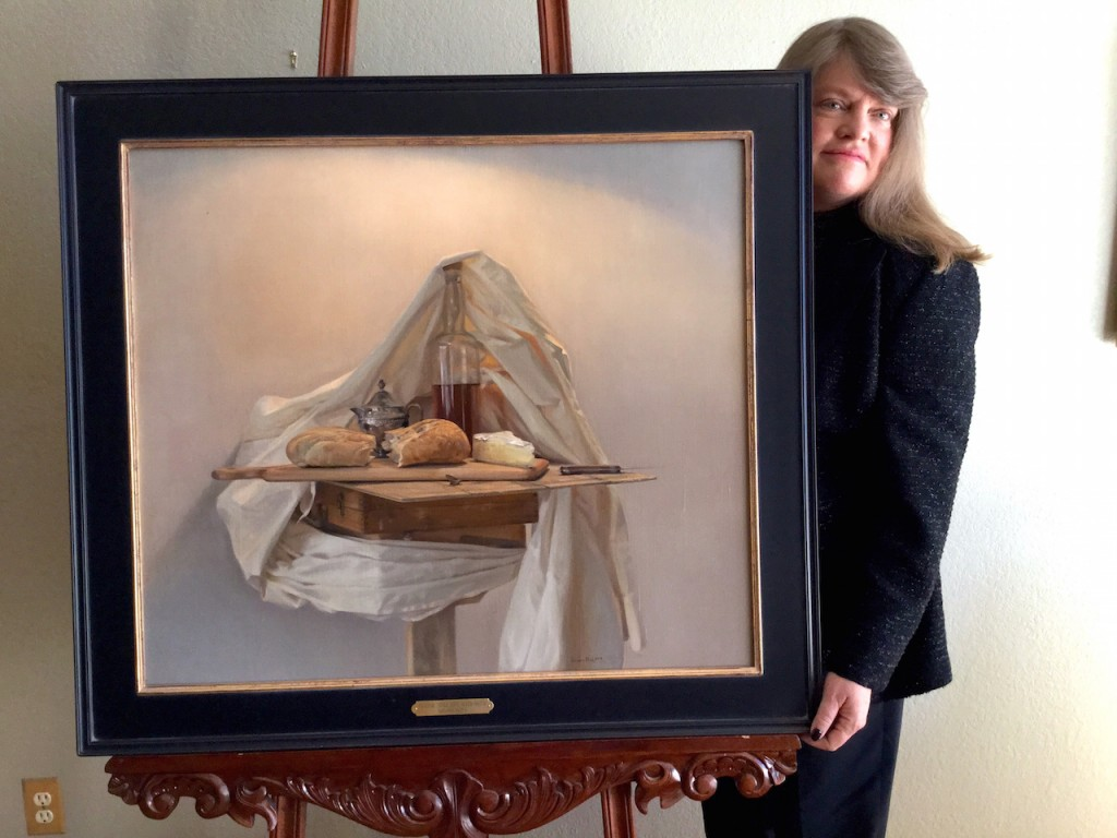 """Shannon Robinson with """"Easel with Classical Still Life"""" with Moth by Greg Block_2015, courtesy of Shannon Robinson."""