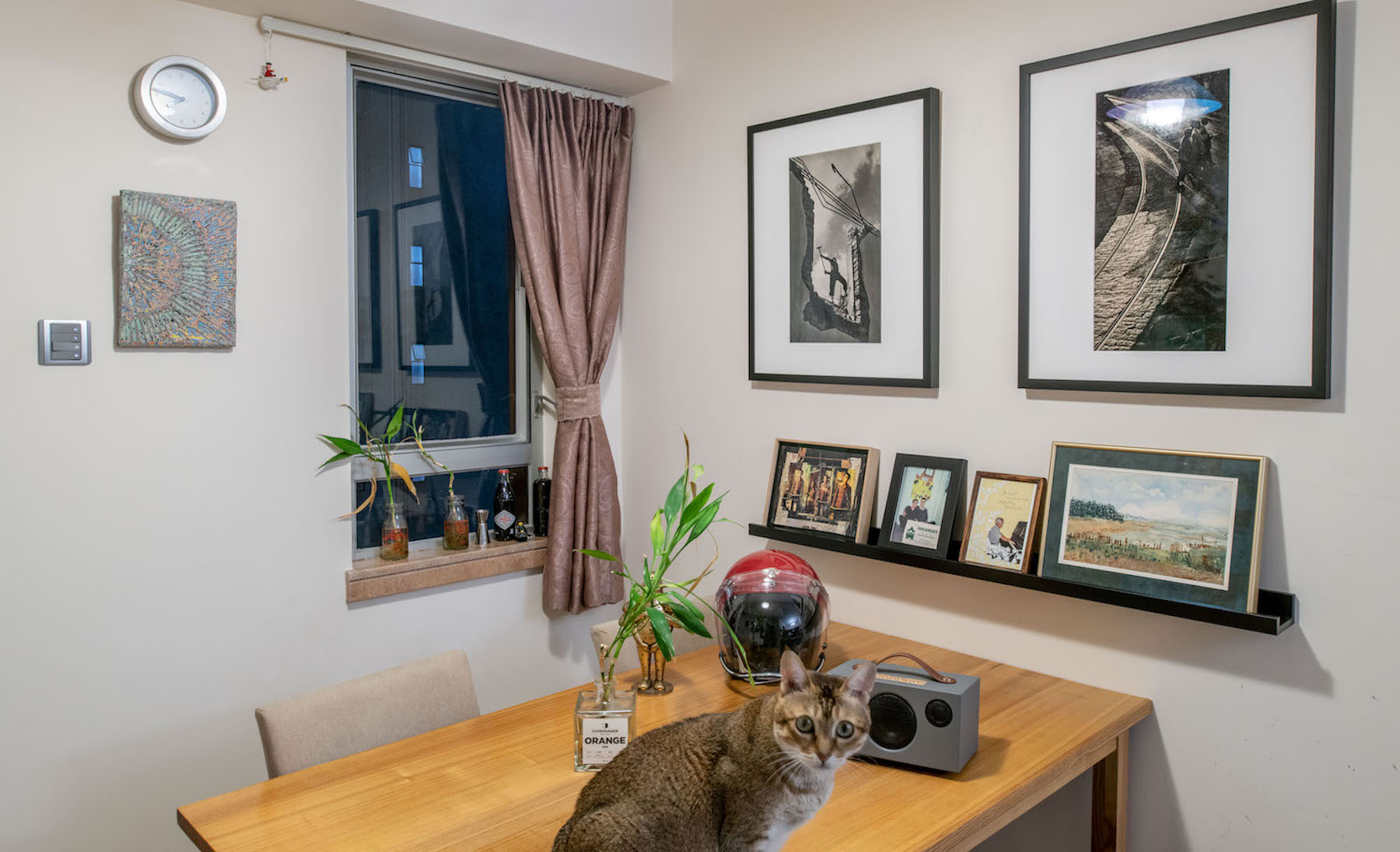 Clockwise from left, Hebime, two Fan Ho vintage prints, a water colour by Yuri's late mother, two family photos and a Wing Shya collage. In front, Yuri's cat, Lily, in the dining room. Courtesy of Yuri van der Leest.