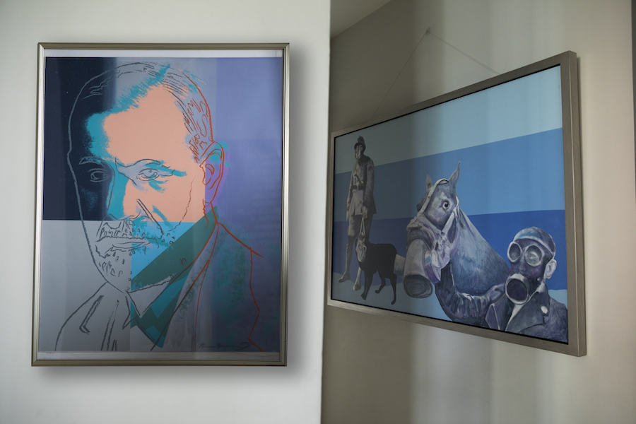 Left to right: Andy Warhol, 'Sigmund Freud' (from Ten Portraits of Jews of the Twentieth Century series), 1980; Charles Pachter, 'Gasp', 1988. Courtesy of Durjoy Rahman.