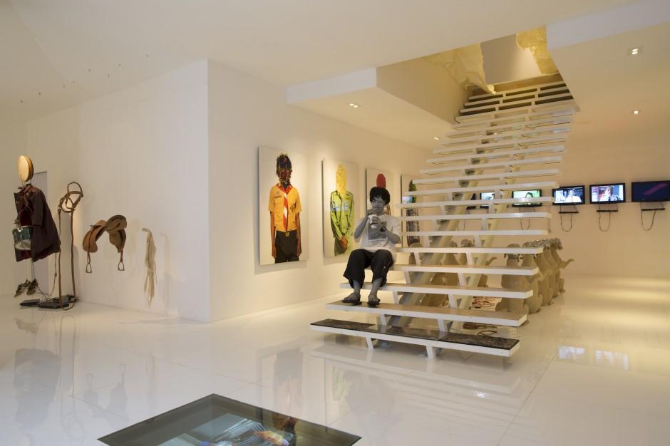 Wiyu Wahono's office: works by Jompet Koeswidananto, Jim Allen Abel, Arief Tousiga, Teguh Ostenrik, Heri Dono, Wimo Ambala Bayang. Photo: Wowo Wahono. Courtesy of Wiyu Wahono.