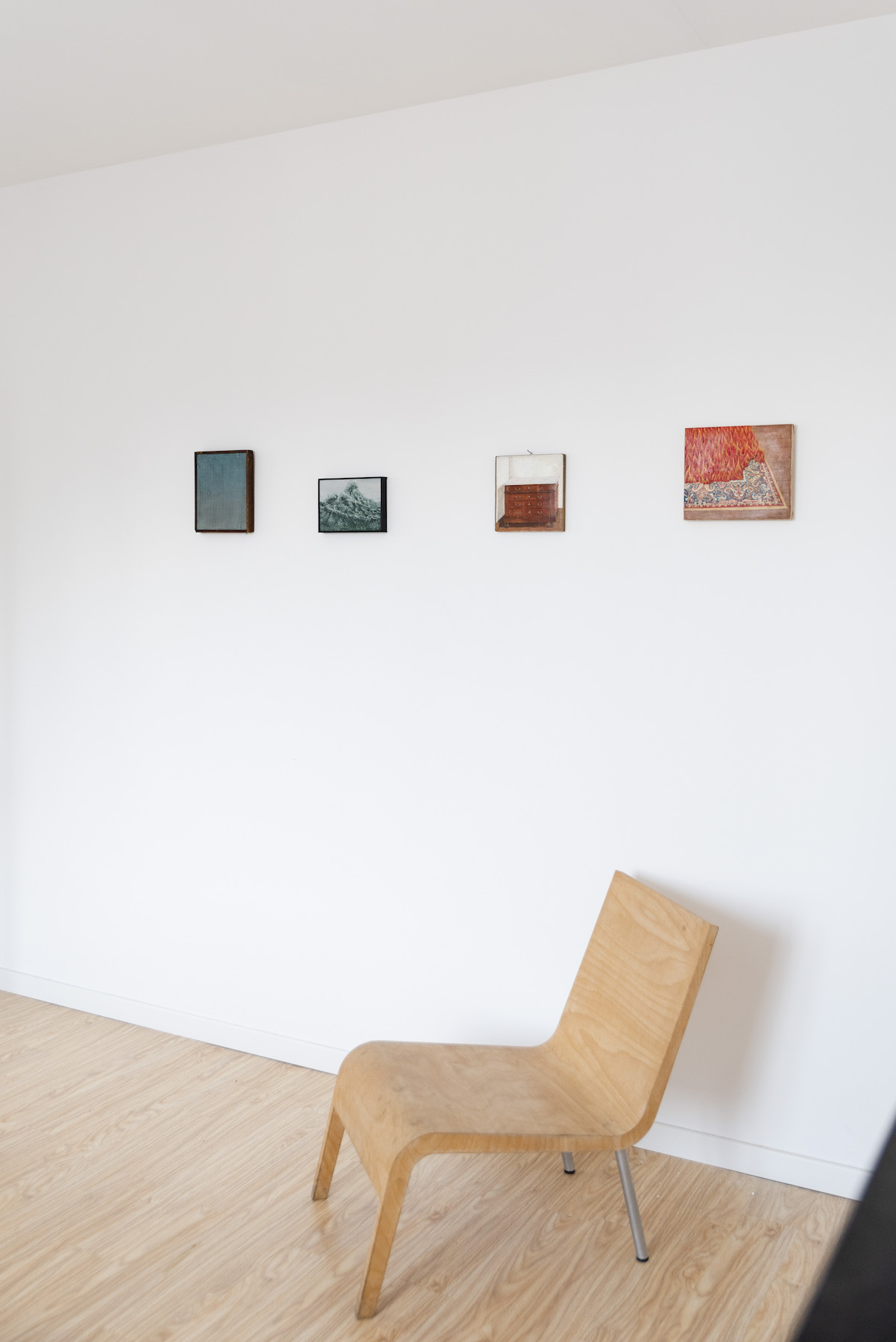 A series of paintings by Loïc Van Zeebroek in the guest bedroom. Photo: Alexandra Bertels. Courtesy of Joris Beernaert.