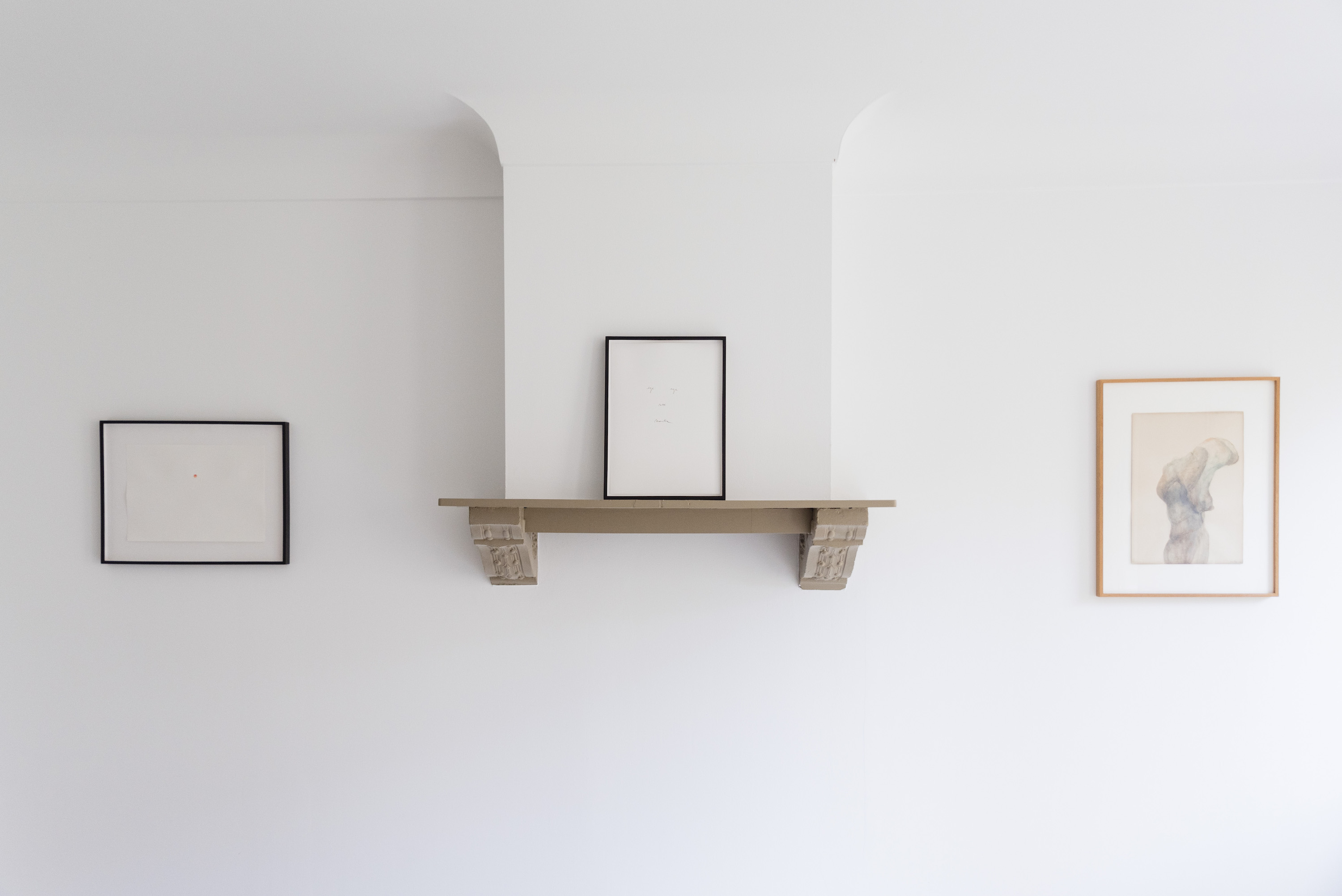 The office with two drawings by Kris Martin (left and center) and a drawing by Berlinde De Bruyckere. Photo: Alexandra Bertels. Courtesy of Joris Beernaert.