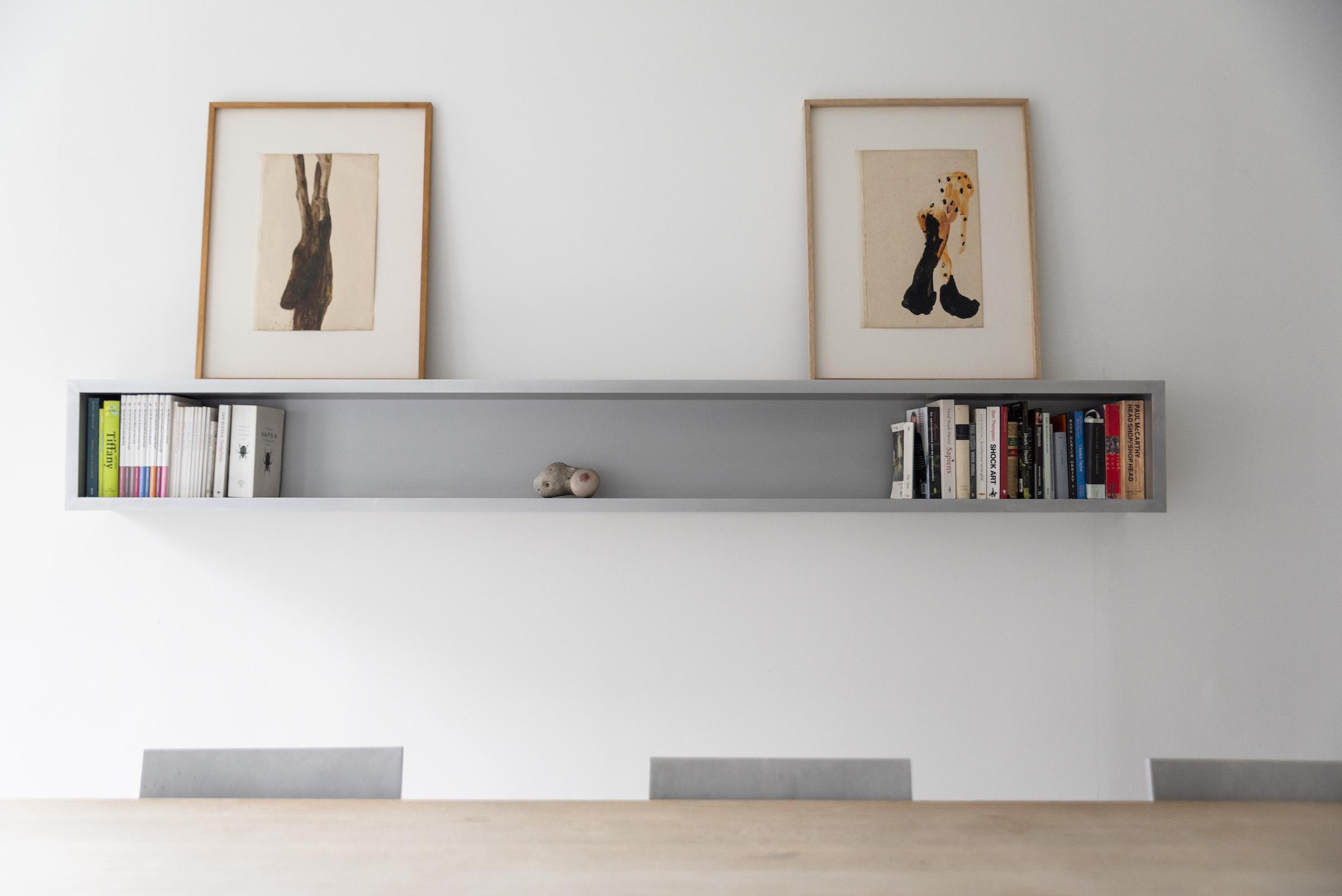 The meeting room with two drawings by Berlinde De Bruyckere (Bloedende Boom and Parasiet). The work in the cupboard is a work by Sofie Muller. Photo: Alexandra Bertels. Courtesy of Joris Beernaert.