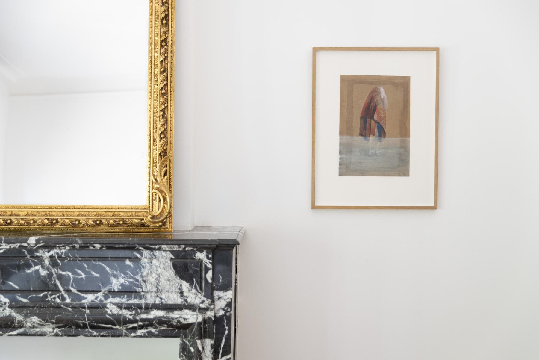 A gouache by Berlinde De Bruyckere (Dekenvrouw) in the master bedroom. Photo: Alexandra Bertels. Courtesy of Joris Beernaert.