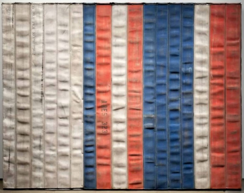 "Theaster Gates, ""Civil Tapestries"", 2012. Courtesy of Elliot and Kimberly Perry Collection."