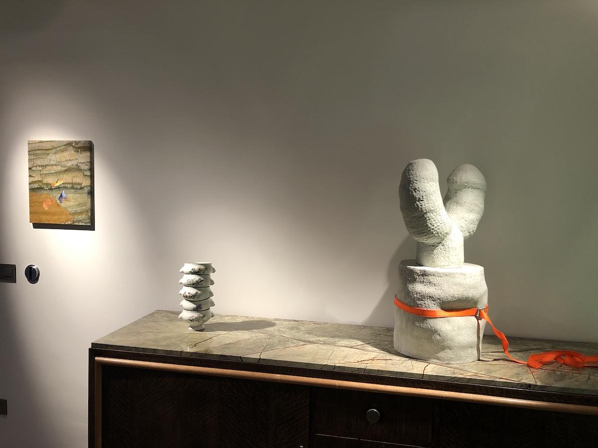 Art pieces by Pieter Vermeersch, Thomas Gilissen, and Antoinette d'Ansembourg. Courtesy of Olivier Vandenberghe.