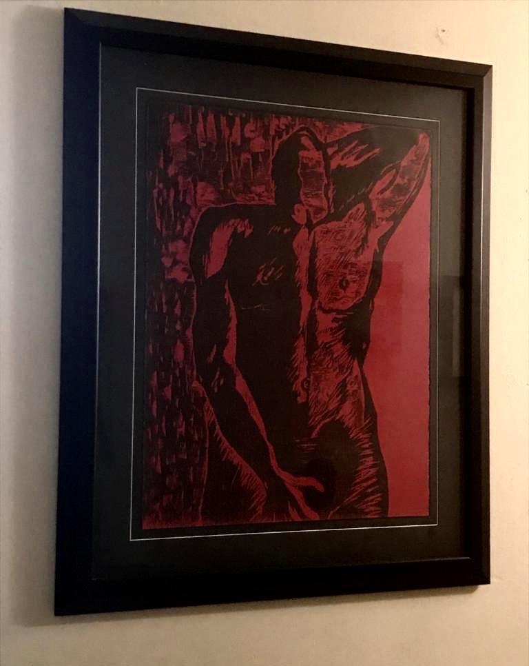 Antonio's first artwork was by Ada Rosa Rivera, engraving on paper. Courtesy of Antonio Castro Barreto.