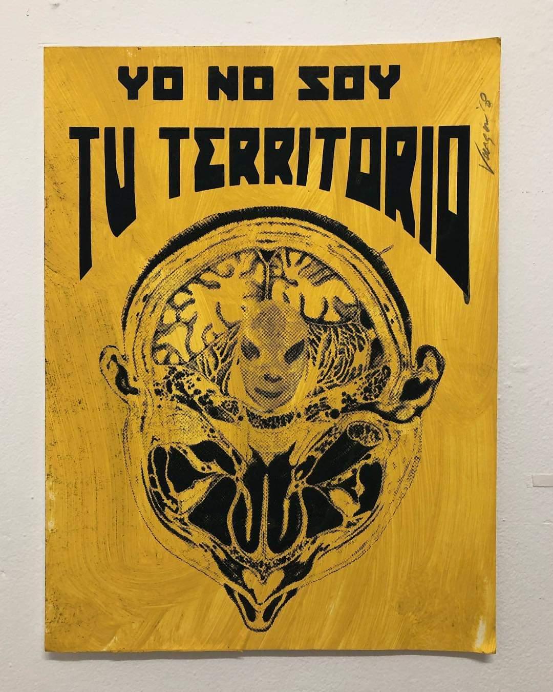 José Luis Vargas, Yo No Soy Tu Territory, silkscreen, ink, acrylic on paper. Courtesy of Antonio Castro Barreto.