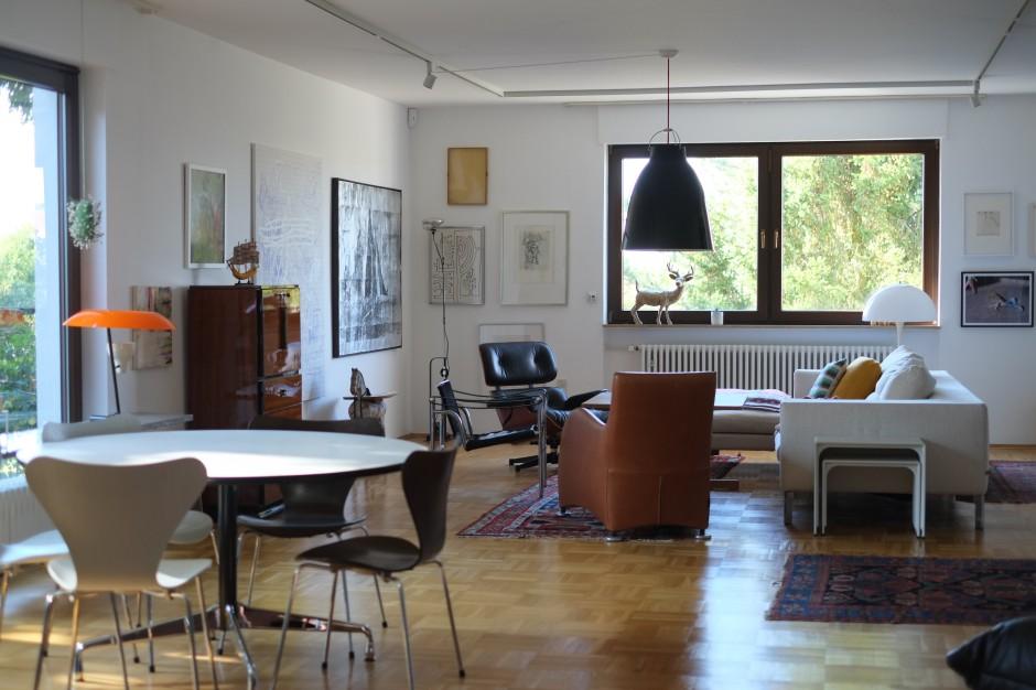 Jakob's art-filled living room. Courtesy of Jakob Buus Madsen.