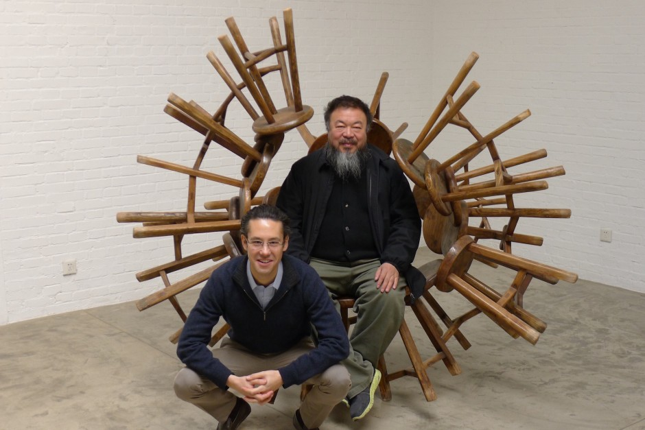 Christopher Tsai and Ai Weiwei in front of Grapes, stool sculpture by the artist. Courtesy of Christopher Tsai.