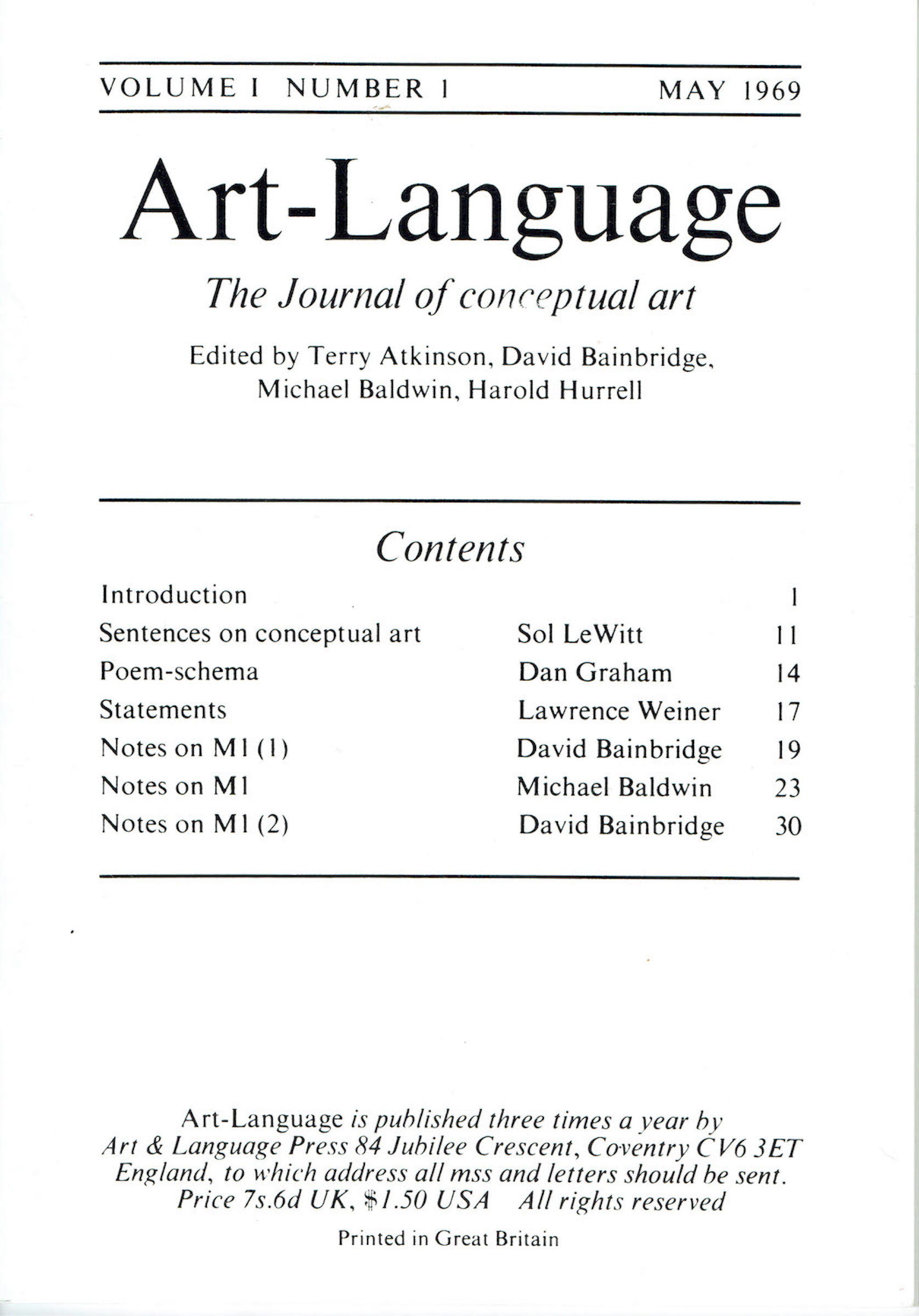Issue 1 of Art-Language: The Journal of Conceptual Art. Courtesy of Philippe Méaille.