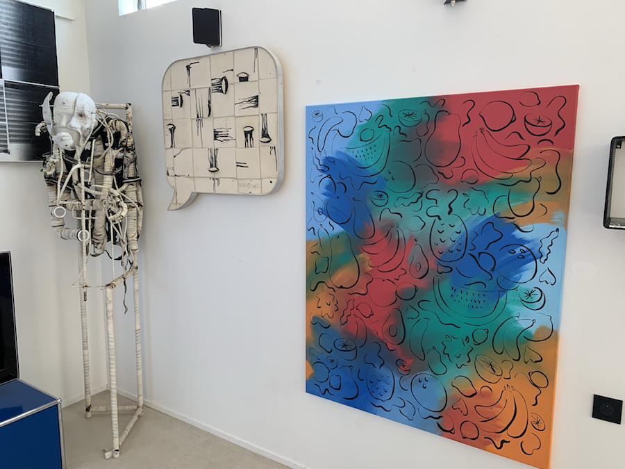 Left to right: artworkd by Renaud Jerez , Liz Craft , and Sol Calero. Courtesy of Sébastien Peyret.