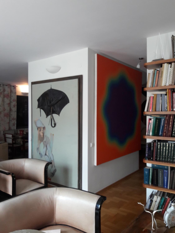 Tadeusz Kantor, Nr 2 Umbrella, 1968 and Wojciech Fangor, M39, 1968. Courtesy of Wojtek Fibak.