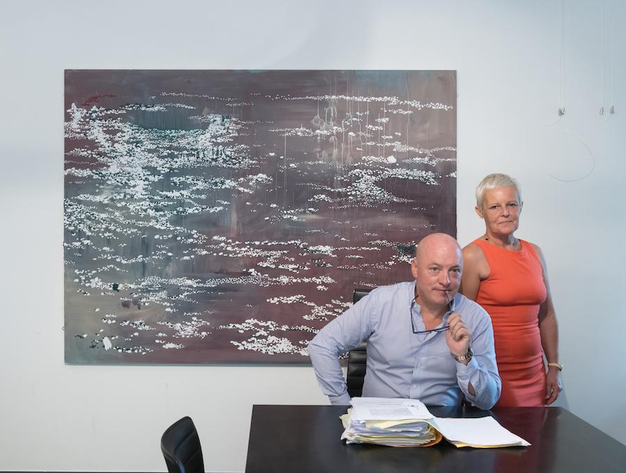 Sabine and Rik Depla-Lantsoght in front of a work by Marina Rheingantz. Courtesy of Sabine and Rik Depla-Lantsoght.