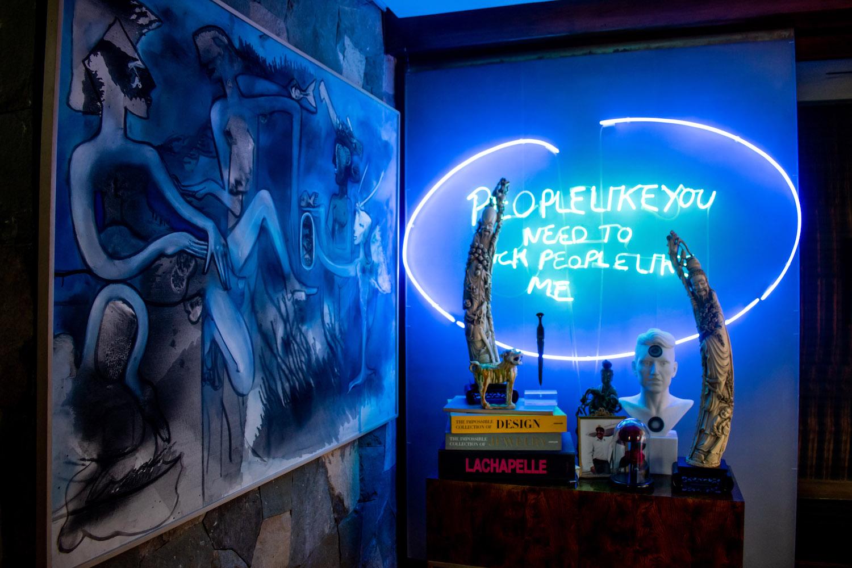 """Roberto Matta """"Il corvo dello specchio di Artemis"""";  Tracey Emin, """"People like you need to fuck people like me""""; and Marc Quinn """"Juan's Portrait"""". Photo: Andrés Herrera. Courtesy of Juan Yarur."""