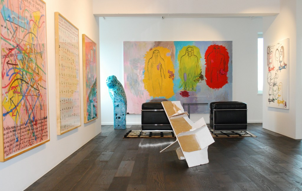 Works by Keith Tyson, Gereon Krebber, Bjarne Melgaard, Bjarne Melgaard;  and sculptures by Felix Schramm. Courtesy of Florian Peters-Messer.