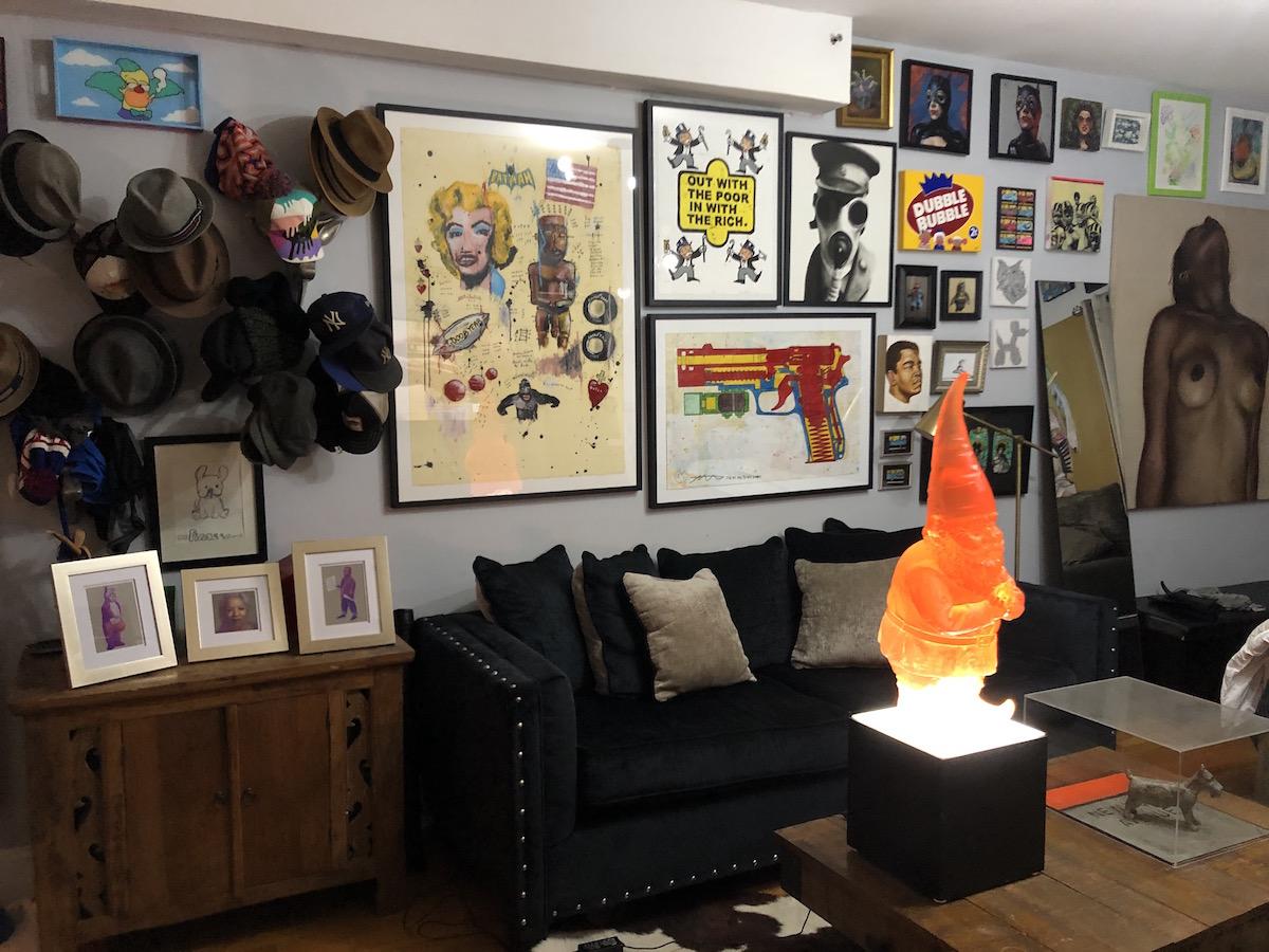 The Santa Claus' living room full of artworks. Courtesy of Guy Stanley Philoche.
