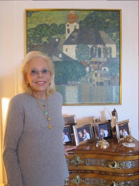 Heidi Goëss-Horten with one of her favorite artworks by Gustav Klimt, Courtesy of Heidi Horten Collection.