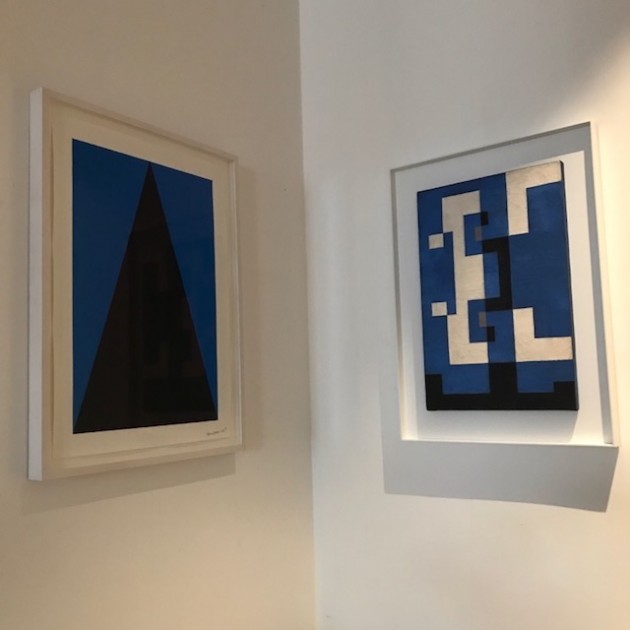 Little corner of Carmen Herrera's work on paper, 2017, and Leon Polk Smith's work on canvas, 1948. Courtesy of Russell Tovey.