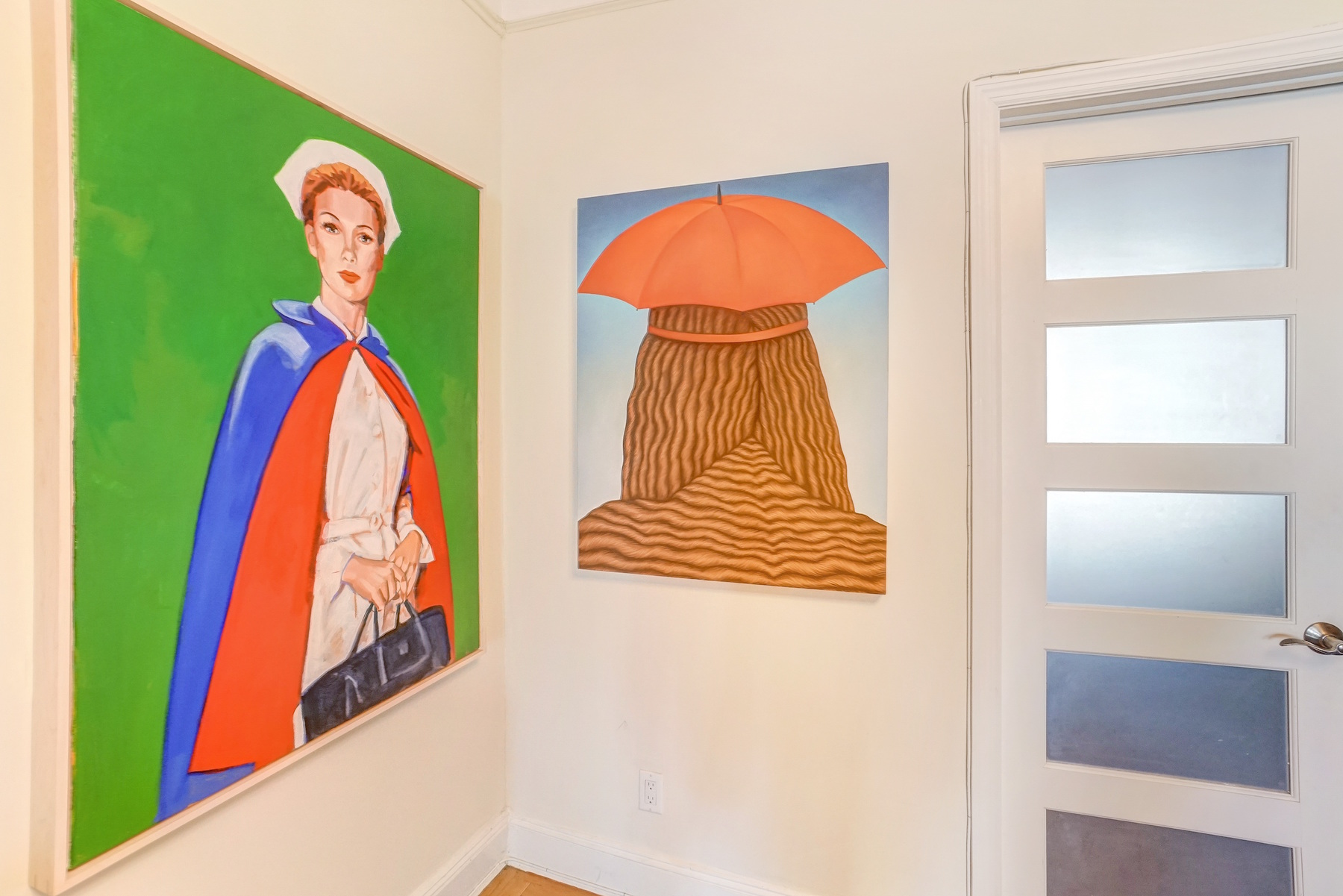 A piece by Walter Robinson on the left and that by Julie Curtiss on the right. Courtesy of Jonathan Travis