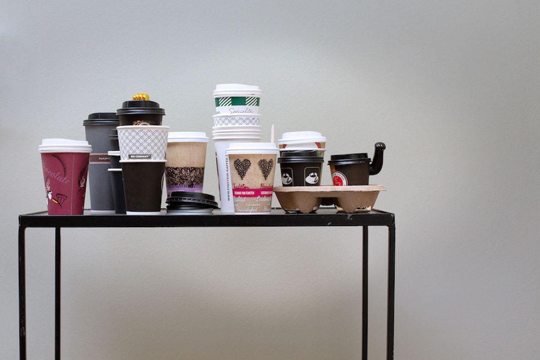 Nina Beier's installation of takeaway coffee cups. Photo: Bernhard Burzin. Courtesy of Nina Gscheider and Franz Ihm.
