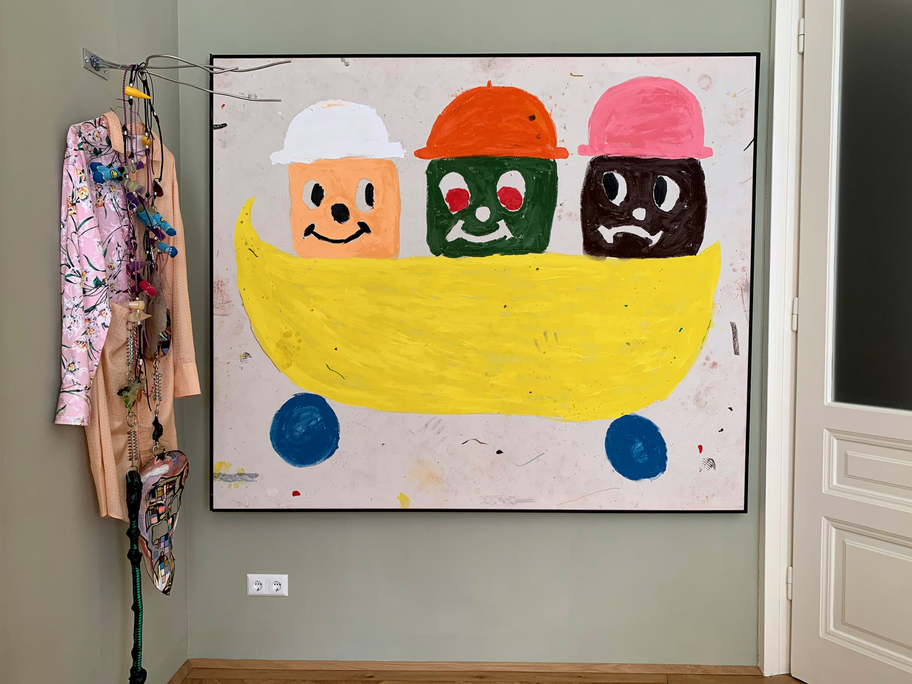 Left to right: an artwork by KAYA (Kerstin Brätsch & Debo Eilers), and a painting by Szabolcs Bozo. Courtesy of Nina Gscheider and Franz Ihm.