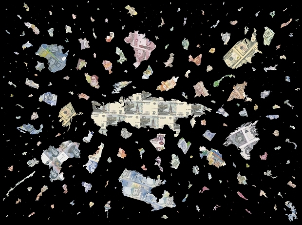 Justine Smith, The Bigger Bang - Black, 2009. Inkjet print. Courtesy of Haupt Collection.